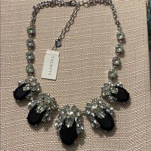 Talbots Black And Smoke Rhinestone Necklace-NWT